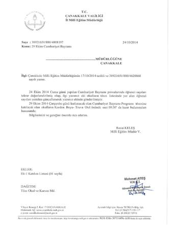 24 Ekim 2014 Cuma Günü Yapılan Cumhuriyet Bayramı