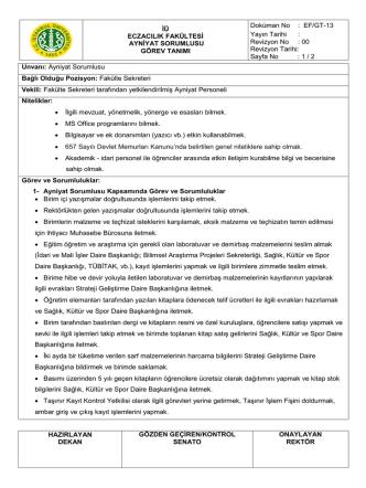 Ayniyat sorumlusu görev tanımı (GT-13)