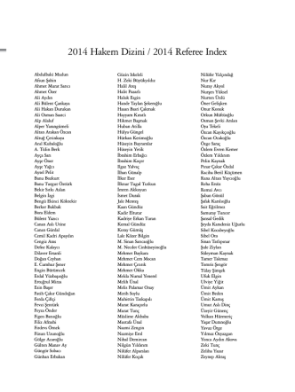 2014 Hakem Dizini / 2014 Referee Index
