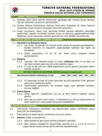 Çocuk Ligi Yönergesi - Türkiye Satranç Federasyonu