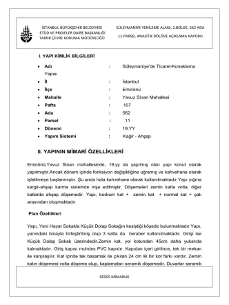 562 Ada 11 Parsel Analitik Rölöve