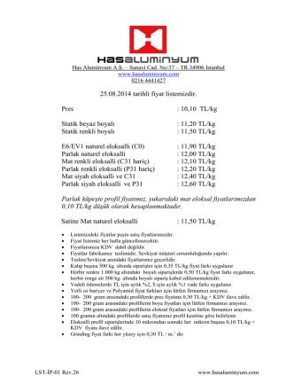 25.08.2014 tarihli fiyat listemizdir. Pres : 10,10 TL