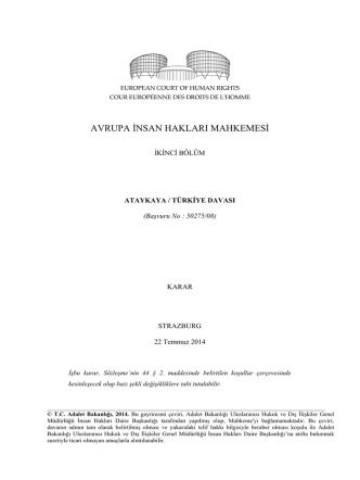 22 Temmuz 2014 tarihli Ataykaya v. Türkiye Kararı