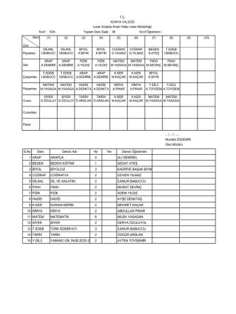 15 aralık 2014 sınıf ders programları