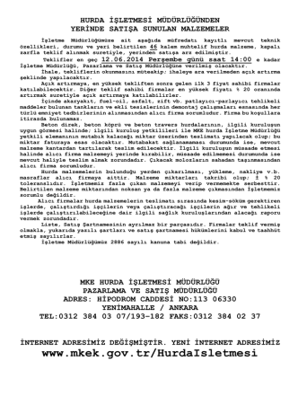 12.06..2014 Tarihli Yerinde Satış Hurda Malzeme İhale listesi