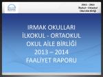 OAB İlkokul - Ortaokul Faaliyet Raporu 2013-2014
