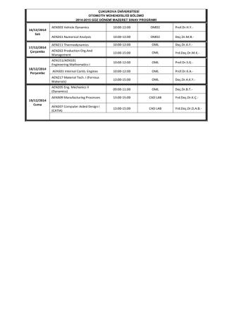 16/12/2014 Salı AEN303 Vehicle Dynamics 10:00