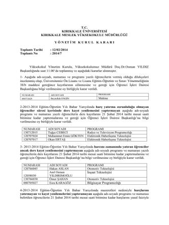 12.02.2014 Tarihli Yönetim Kurulu Kararı