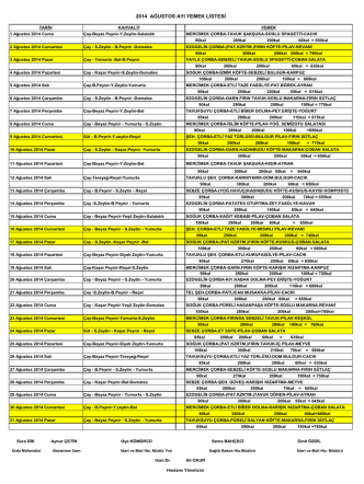 2014 ağustos ayı yemek listesi