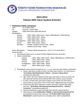 2013-2014 Yıldızlar Milli Takım Seçilme Kriterleri
