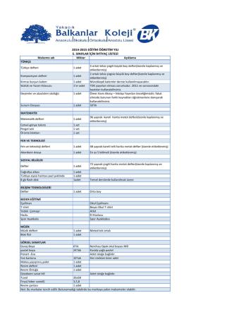 2014-2015 eğitim öğretim yılı 5. sınıflar için ihtiyaç