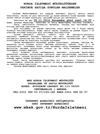 06.11.2014 Tarihli Yerinde Satış Muhtelif tank hurdaları ve Muhtelif