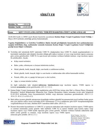 2014-31 Numaralı Sirkülerler - KAPSAM Yeminli Mali Müşavirlik