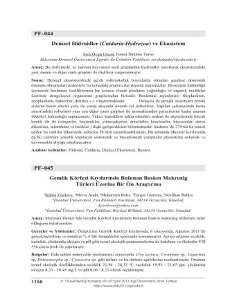 Cnidaria-Hydrozoa - Biyoloji Kongreleri