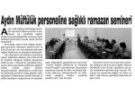 Hedef-Aydın Müftülük Personeline Sağlıklı Ramazan Semineri
