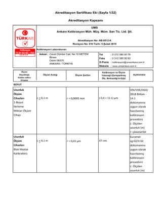 Akreditasyon Sertifikası Eki (Sayfa 1/32) Akreditasyon Kapsamı