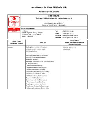 Akreditasyon Sertifikası Eki (Sayfa 1/14) Akreditasyon Kapsamı