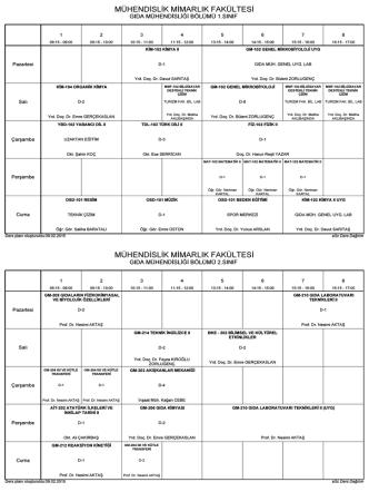 2014 - 2015 Bahar Yarıyılı Ders Programı (TDili ve Or.Seç