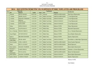 2014 – 2015 eğitim öğretim yılı ıı.dönem zümre toplantıları programı