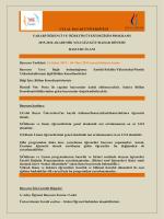 2015-2016 Akademik Yılı Güz / Güz+Bahar Dönemi Başvuru İlanı