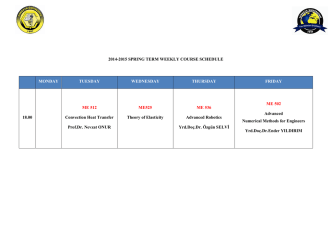 2014-2015 SPRING TERM WEEKLY COURSE SCHEDULE