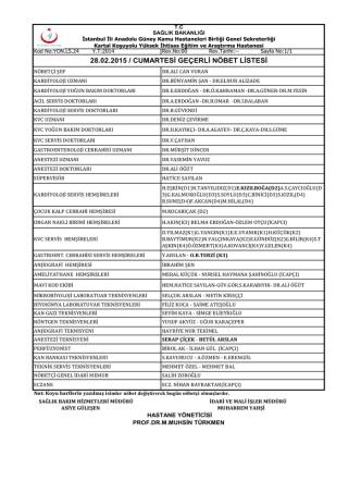 28.02.2015 - Kartal Koşuyolu Yüksek İhtisas Eğitim ve Araştırma