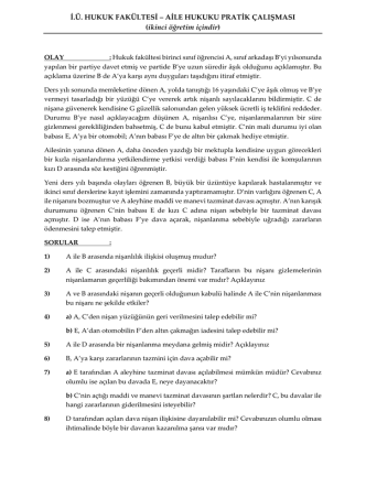 AİLE HUKUKU PRATİK ÇALIŞMASI - İstanbul Üniversitesi | Hukuk