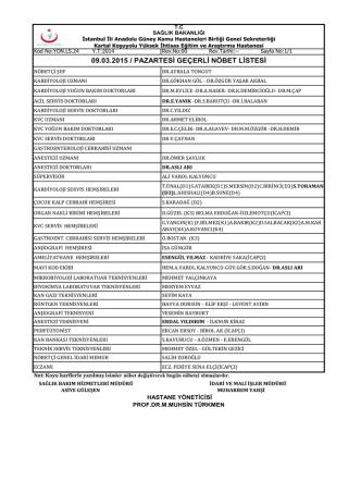 09.03.2015 - Kartal Koşuyolu Yüksek İhtisas Eğitim ve Araştırma