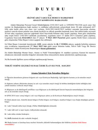 (657 4/B) ZABIT KATİBİ Nihai Başarı Listesi 10.03