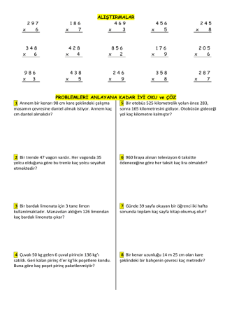 3.snfmatematik alıştrmalar ve problemler