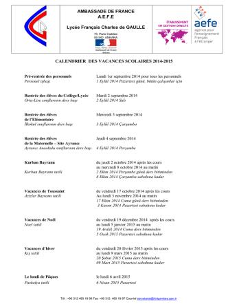 AMBASSADE DE FRANCE A.E.F.E Lycée Français Charles de