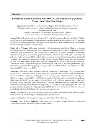 (Apiaceae) Cinslerinin Polen Morfolojisi