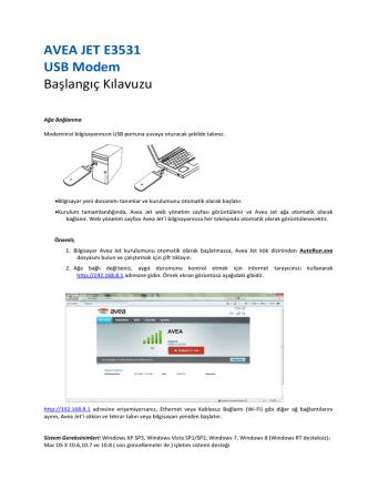 AVEA JET E3531 USB Modem
