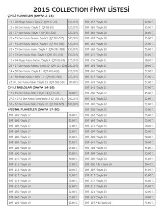 2015 collectıon fiyat listesi