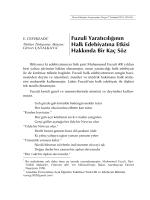 Fuzuli Yaratıcılığının Halk Edebiyatına Etkisi Hakkında Bir Kaç Söz