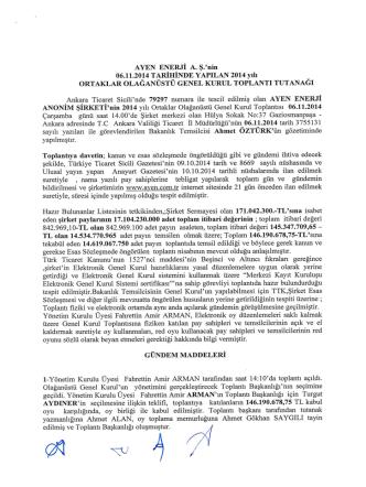 06.11.2014 Olağanüstü Genel Kurul Tutanak ve Hazır