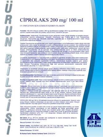 CİPROLAKS 200 mg/ 100 m1 - Polifarma İlaç San. ve Tic. A.Ş.