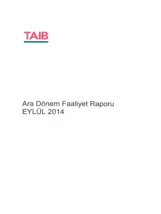 Ara Dönem Faaliyet Raporu EYLÜL 2014