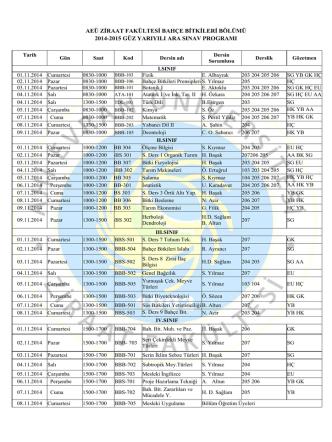 AEÜ ZİRAAT FAKÜLTESİ BAHÇE BİTKİLERİ BÖLÜMÜ 2014-2015