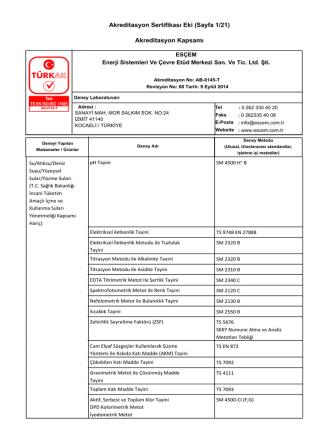 Akreditasyon Sertifikası Eki (Sayfa 1/21) Akreditasyon Kapsamı