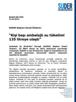 """""""Kişi başı ambalajlı su tüketimi 135 litreye ulaştı"""""""