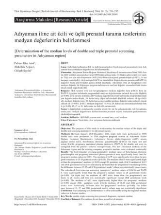 231-237 - türk biyokimya dergisi
