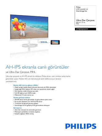 274E5QHAW/00 Philips LCD monitör ve SmartImage lite