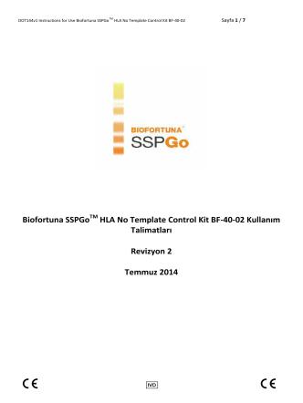 Biofortuna SSPGoTM HLA No Template Control Kit BF-40-02