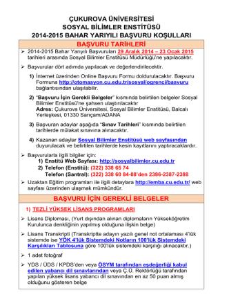 2014-2015 Bahar Yarıyılı Başvuru İlanı