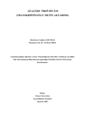 Çağdaş ALBAYRAK - Trakya Üniversitesi