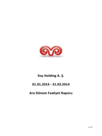 31.03.2014 Ara Dönem Faaliyet Raporu