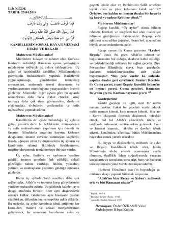 25.04.2014 Tarihinde Okunacak Olan Hutbe