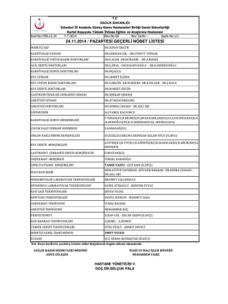 24.11.2014 / pazartesi geçerli nöbet listesi