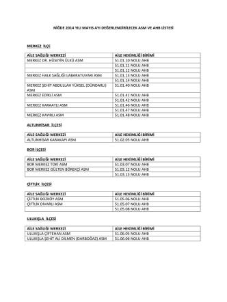 2014 mayıs ayı asm ve ahb değerlendirme programı
